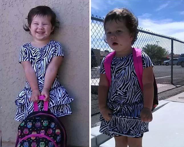 Gyerekek iskolakezdés előtt és után – vicces képek