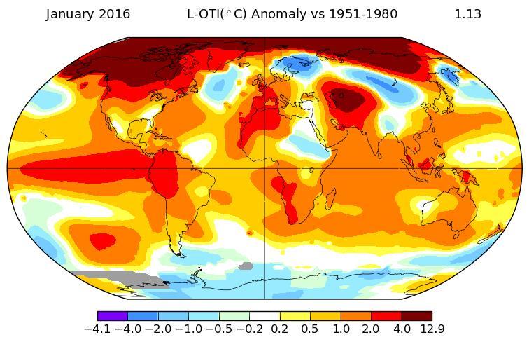 Döbbenet! A Földön +1,3 °C a januári átlaghőmérséklet emelkedés!
