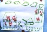 Bombák, tankok, hullák - ezt rajzolják a menekült gyerekek