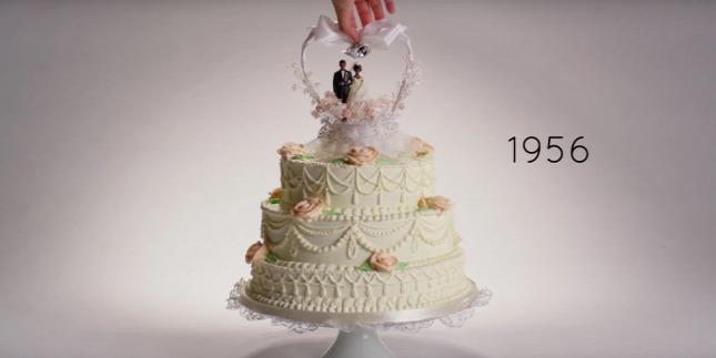 Száz év esküvői tortája egy videóba sűrítve