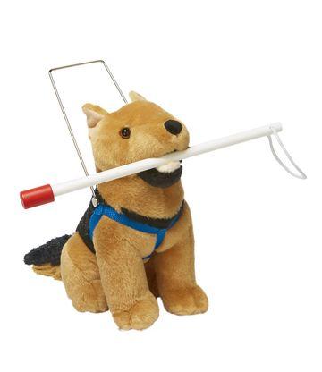 02ad78771aaf A Lakeshore Learning plüss német juhászkutyájához póráz és fehér bot is  jár. A cég játékbabáknak való mankókat, kerekesszéket és hallókészüléket is  gyárt.