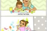 Az elképzelt és a valóságos szülői lét, képekben