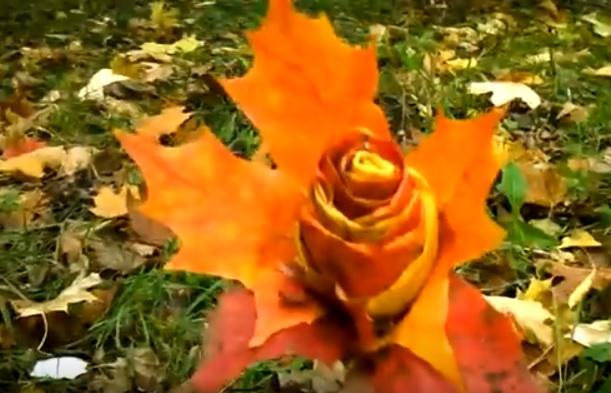 Így készítsetek falevelekből rózsát!